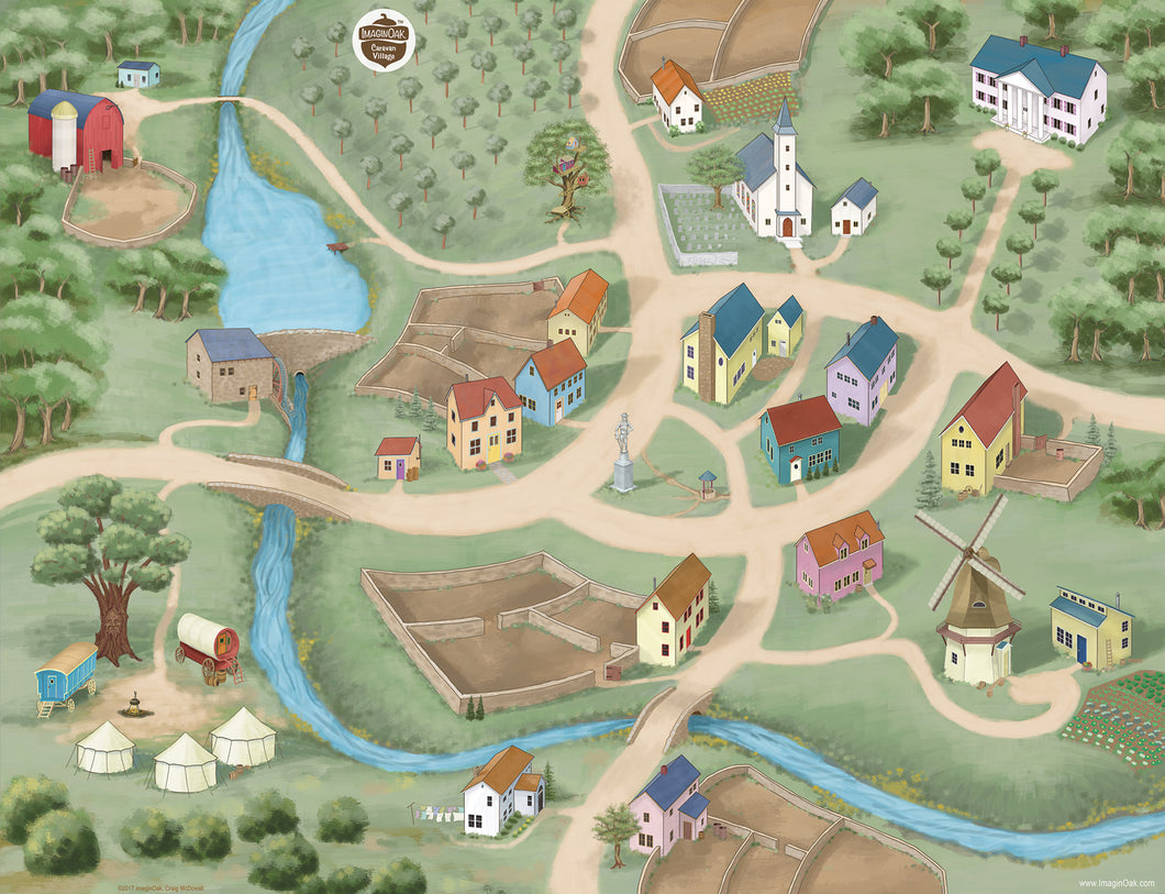 Caravan Village play mat for children explores a quiant village with farms and woods.