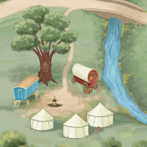 ImaginOak's unique Caravan Village children's play mat features the gypsy encampment with the mysterious talking tree.