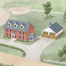 One of the dream houses on the ImaginOak Horse Haven play mat for children.