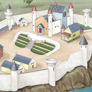 The medieval castle with keep and battlements overlooking the Quest Realm play mat.