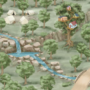 Children will love exploring the hidden encampment and treehouse on the Quest Realm play mat.