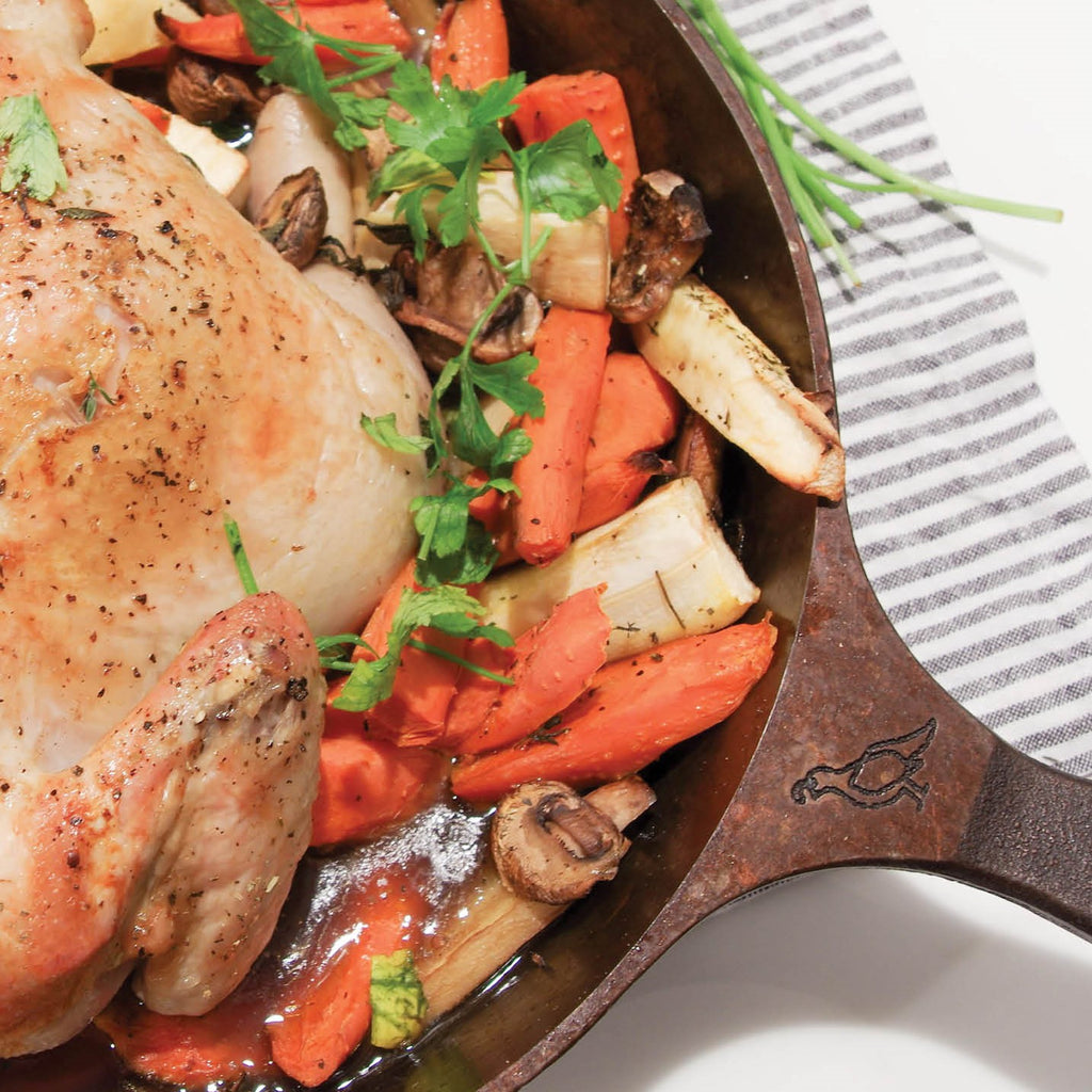 Cast Iron Skilleted Roasted Chicken and Root Vegetables