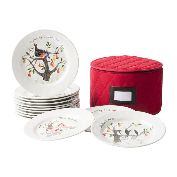 12 Days of Christmas Salad/Dessert Plate Set - Fishes & Loaves