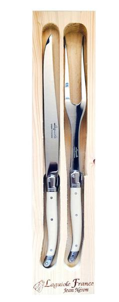 Laguiole Carving Set in Wood Box - Ivory and Steel - Fishes & Loaves