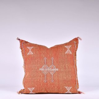 Orange Sabra Silk Pillow - Fishes & Loaves