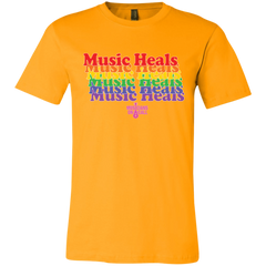 Music Heals Repeating Text Tee [Available In Black, White, Dark Heather Grey And Gold]