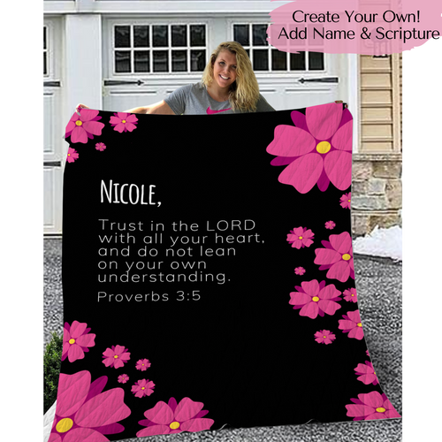 Personalized Pink Flowers Throw Blanket