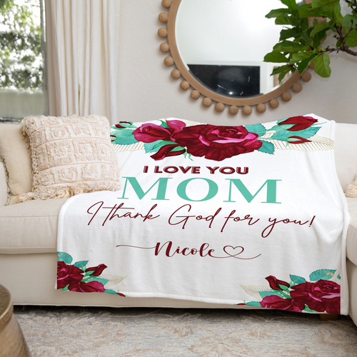 Mom I Thank God For You Personalized Throw Blanket