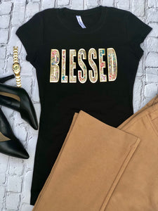 Blessed with Floral Print Ladies' T-shirt