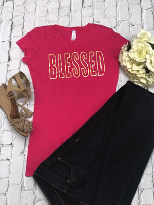 Blessed with Gold Foil Print Ladies' T-shirt