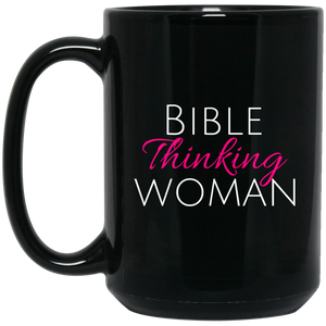 Bible Thinking Woman Black Mug