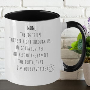 Mom The Jig Is Up Two-Tone Mug