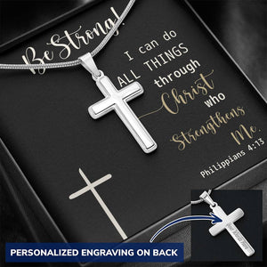 I Can Do All Things Through Christ Personalized Cross Necklace
