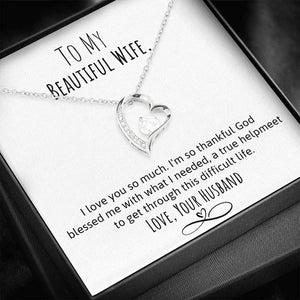 To My Beautiful Wife- HelpMeet Heart Necklace
