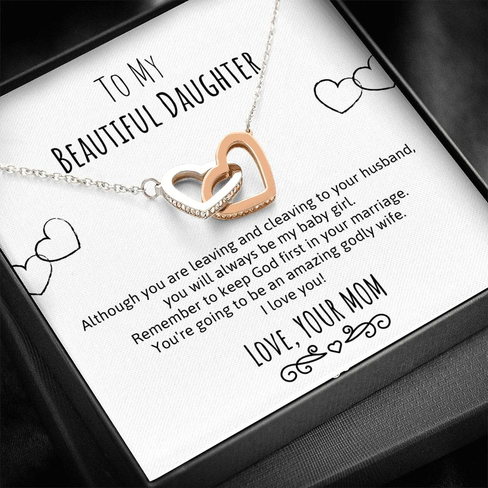 To My Beautiful Daughter- Wedding Gift Double Heart Necklace
