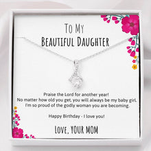 To Daughter Happy Birthday Ribbon Necklace