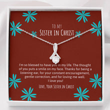 Sister In Christ Ribbon Necklace Brown & Teal