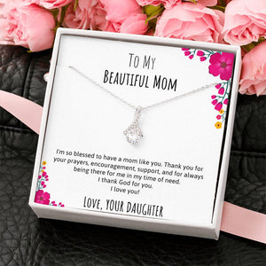 To My Beautiful Mom Ribbon Necklace