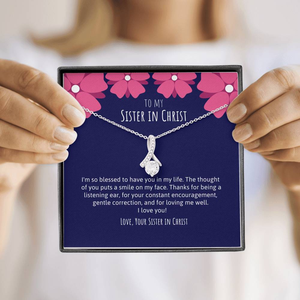 Sister In Christ Ribbon Necklace Navy & Pink