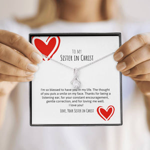 Sister In Christ Ribbon Necklace Red Hearts
