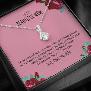 Mom - I Love You Ribbon Necklace