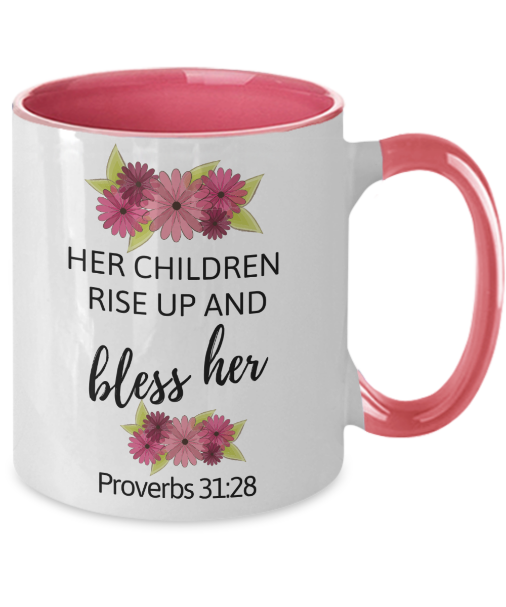 Blessed Mom Proverbs 31:28 Two-Tone Mug