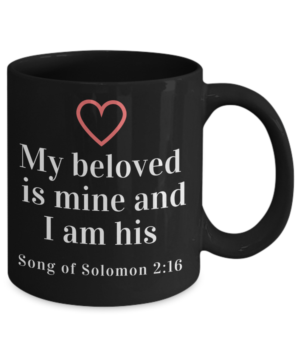 My Beloved is Mine Black Coffee Mug