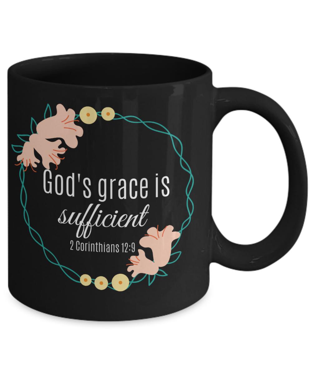 God's Grace is Sufficient Black Mug