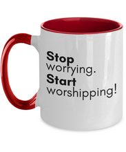 Stop Worrying Two-Tone Mug