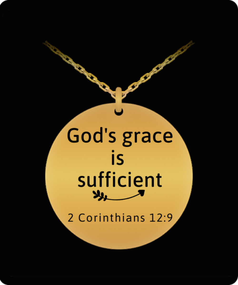 God's Grace is Sufficient Engraved Necklace