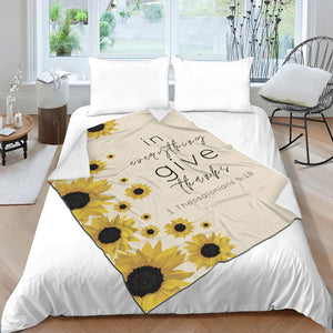 Give Thanks SunFlower Throw Blanket