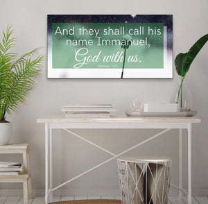 Christian Wall Art: Immanuel God Is With Us (Wood Frame Ready to Hang)