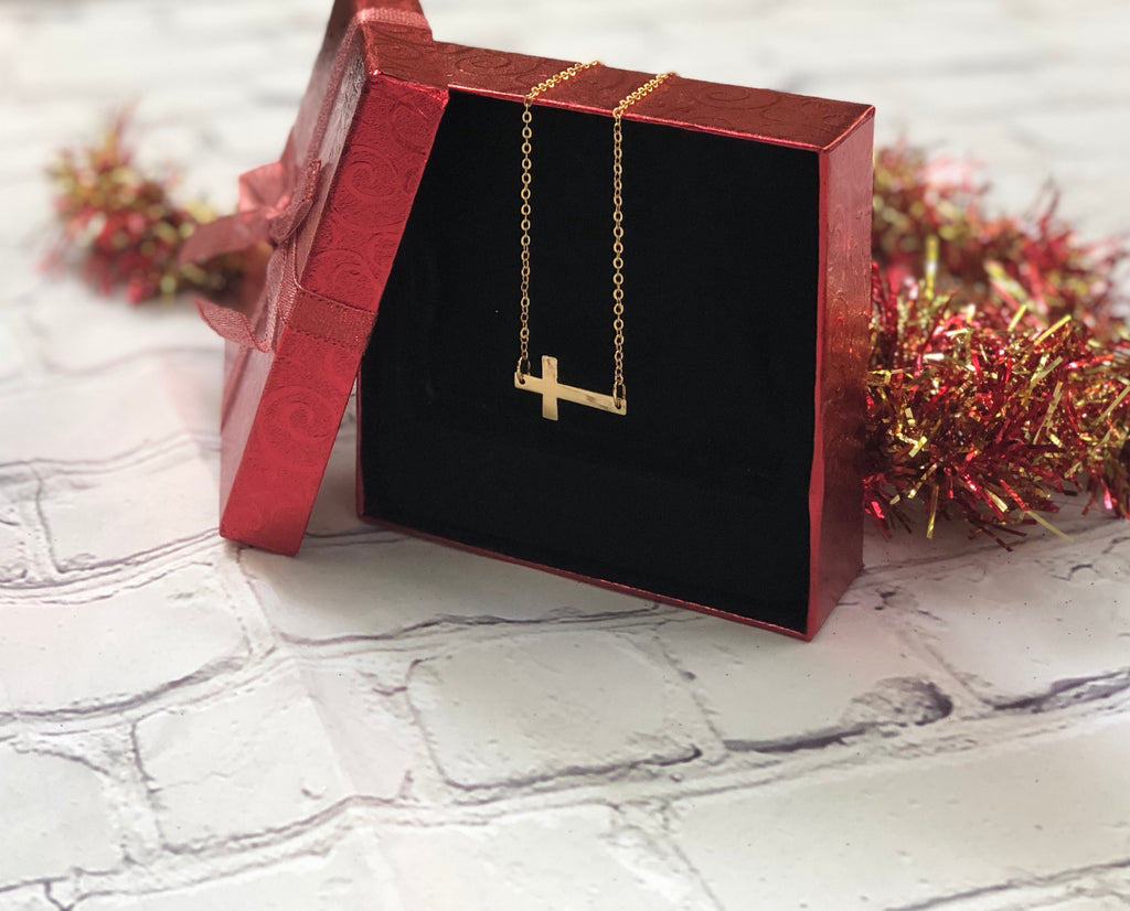 Cross Necklace Gold - Sideways Cross