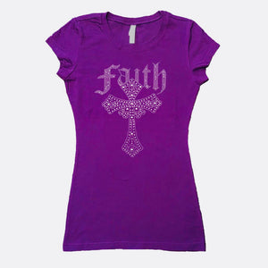 Purple Faith Rhinestone Ladies' T-shirt