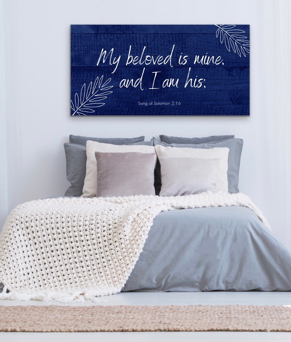 Christian Wall Art: My Beloved is Mine (Wood Frame Ready to Hang)