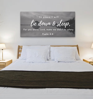 Christian Wall Art: Peaceful Sleep (Wood Frame Ready to Hang)