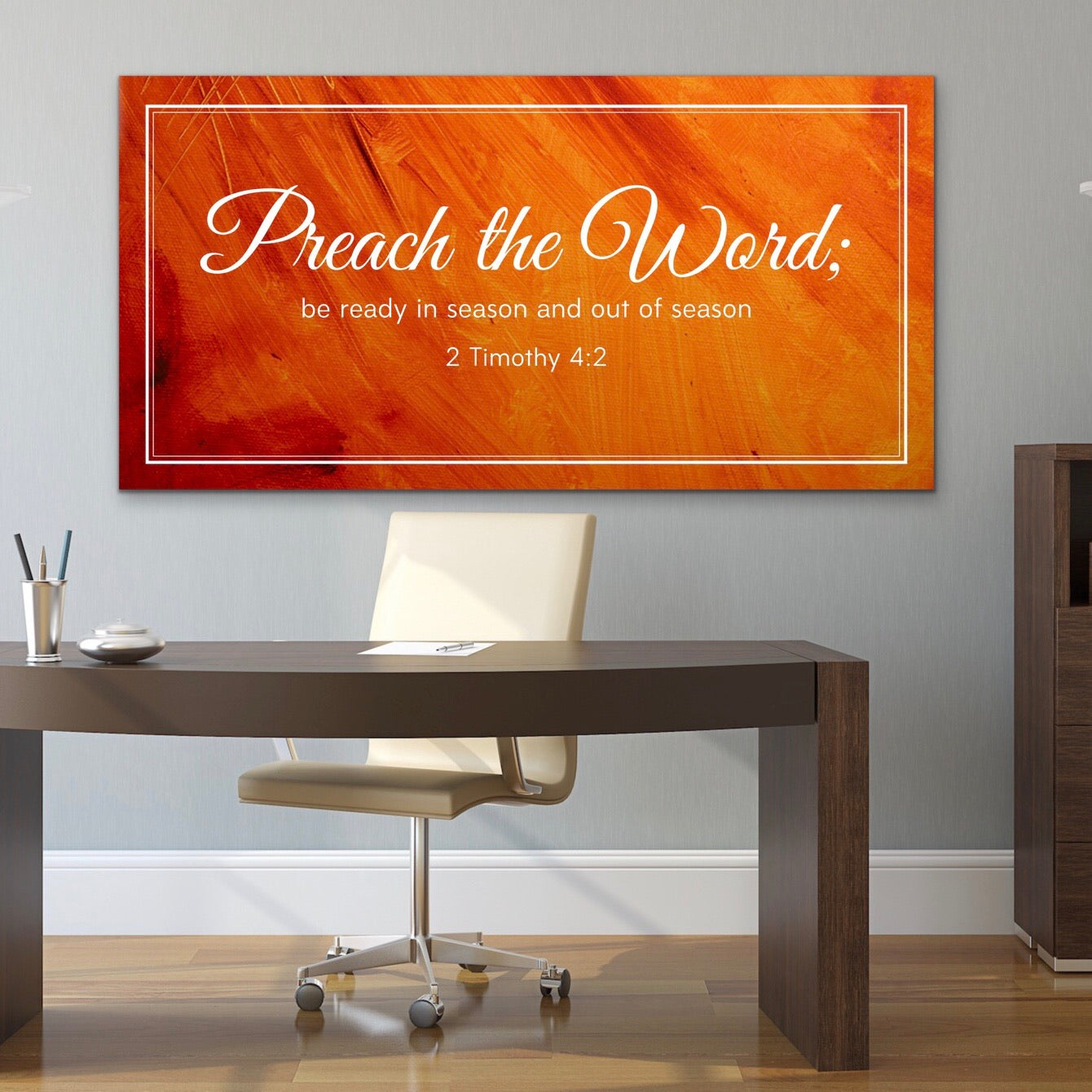 Christian Wall Art: Preach the Word (Wood Frame Ready to Hang)