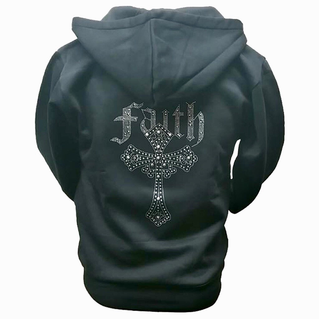 Faith Rhinestone Hooded Sweatshirt