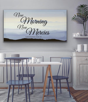 Christian Wall Art: New Morning New Mercies (Wood Frame Ready to Hang)