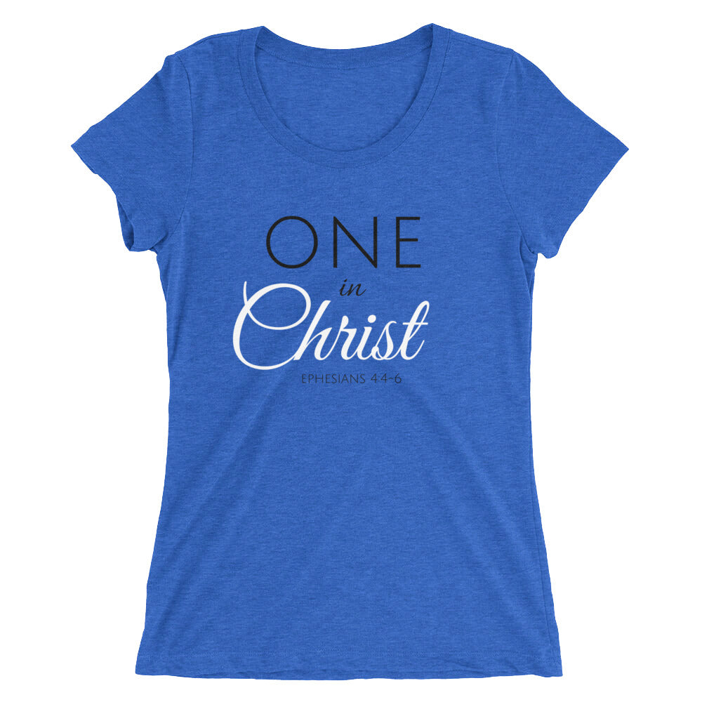 One In Christ Blue Ladies' Triblend T-shirt