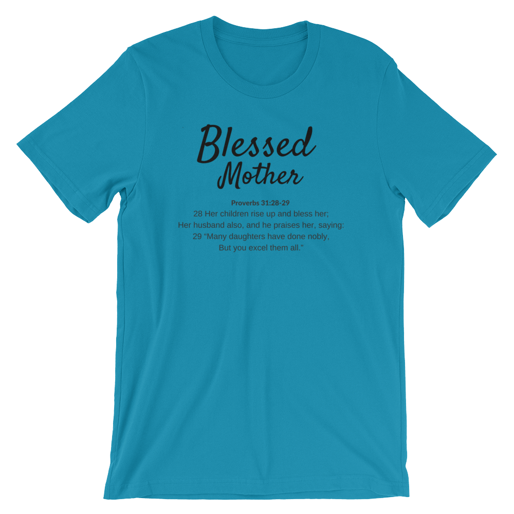 Aqua Blessed Mom T-shirt