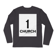 1 Church Men's Long Sleeve Fitted Crew
