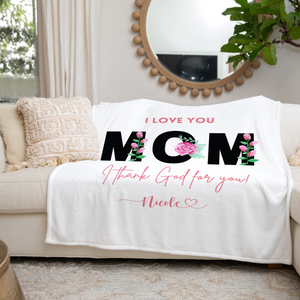 Mom I Love You Personalized Throw Blanket
