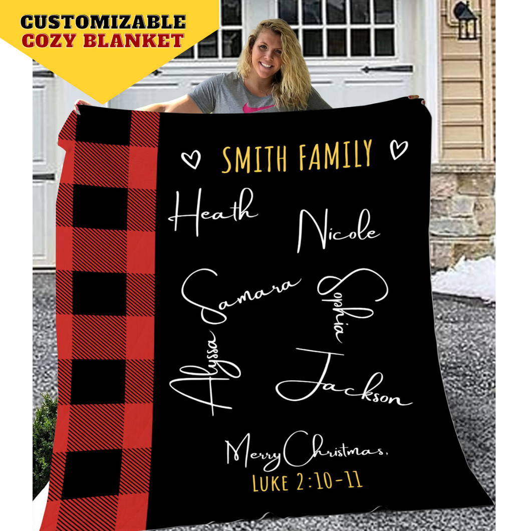 Personalized Family Checkered Throw Blanket