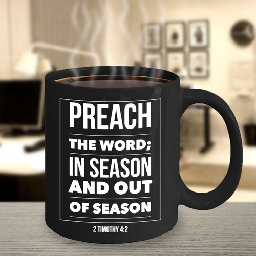 Preach the Word Black Mug