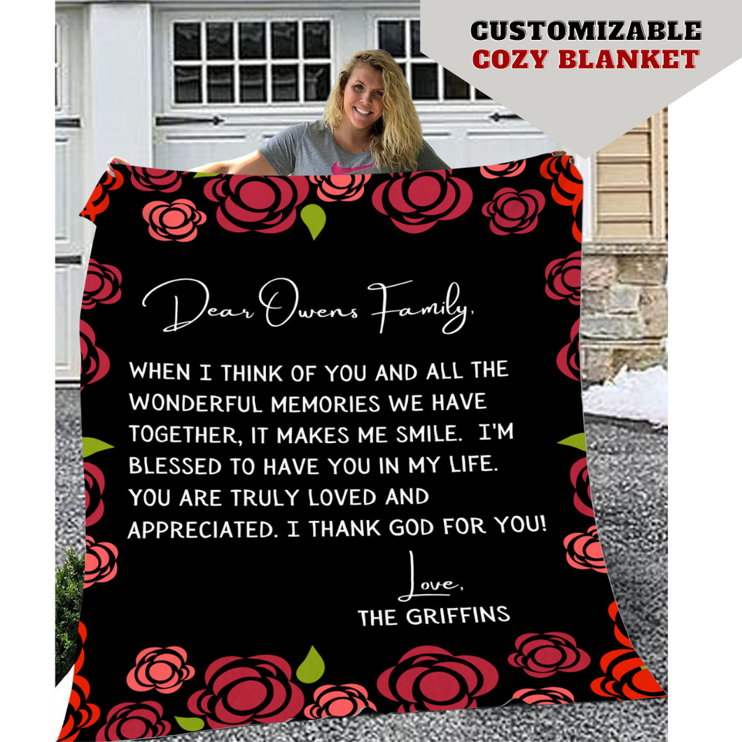 Personalized Flowered Family Throw Blanket