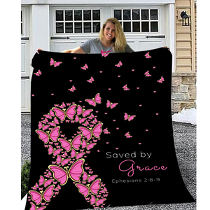 Saved By Grace Throw Blanket (Breast Cancer Edition)