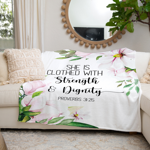 Proverbs 31 Strength and Dignity Throw Blanket
