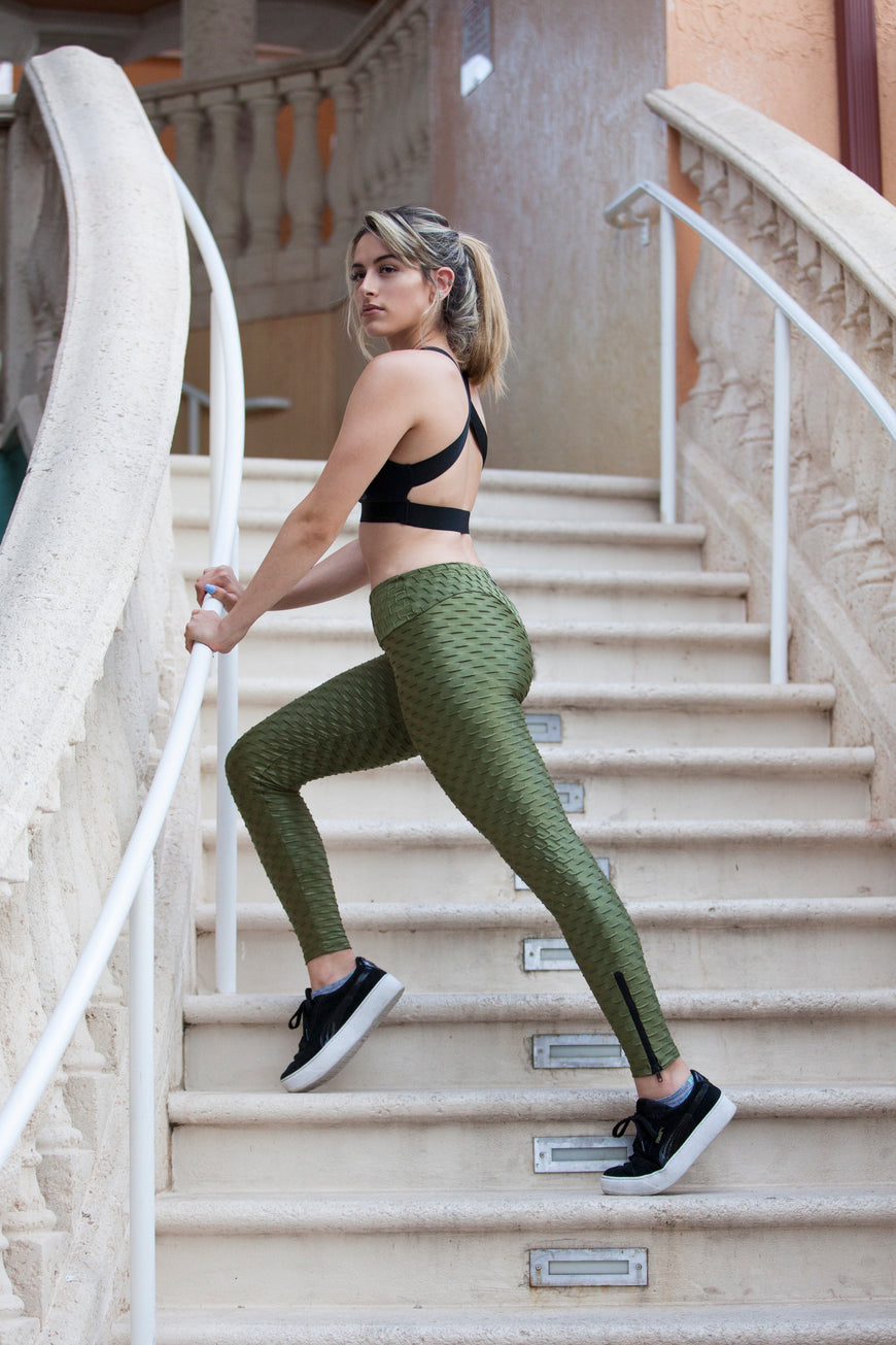 Metallic Honeycomb Leggings