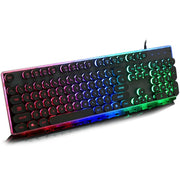 Gaming Retro Round Glowing Metal keyboard - MAXELAR